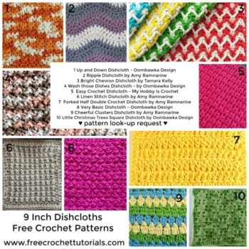 10 Free Crochet Patterns for 9 inch dishcloths - pattern lookup request - freecrochettutorials.com