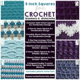 8 Inch Squares for Blankets and Dishcloths freecrochettutorials.com