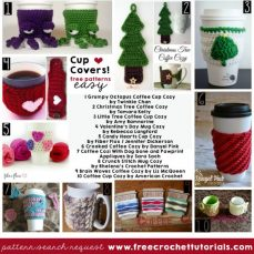 Easy To Crochet Cup Covers Pattern Look Up Request freecrochettutorials.com