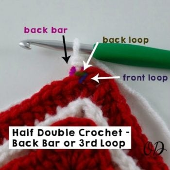 Half Double Crochet Back Bar or 3rd Loop