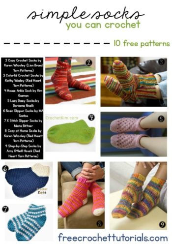 Simple Socks You Can Crochet 10 Free Patterns Pattern Lookup Request Video Tutorial Included for Free Sock Pattern