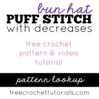 Puff Stitch Bun Hat with Decreases