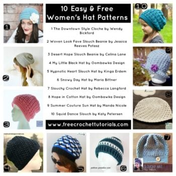10 EASY AND FREE WOMENS HAT PATTERNS