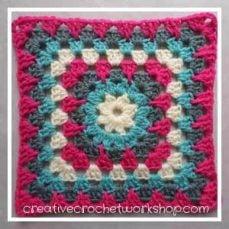 Spiked Flower Crochet Granny Square