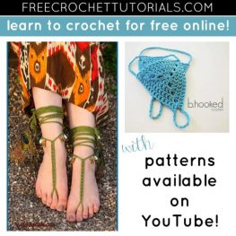 10 FREE Video Crochet Patterns for Barefoot Sandals available on YouTube