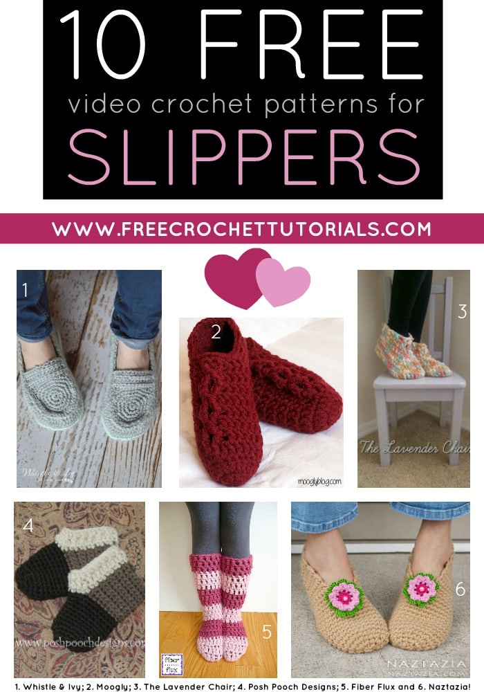 10 Free Youtube Video Crochet Patterns For Slippers Free Crochet