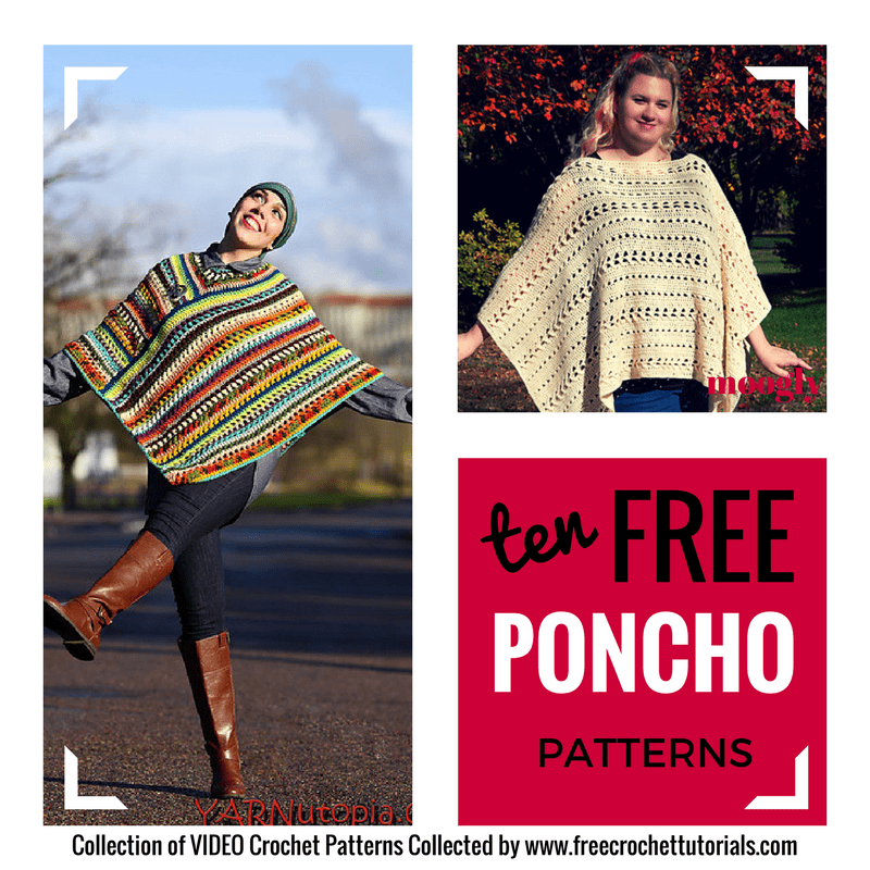 This week on Free Pattern Friday we have 10 Free Poncho Crochet Patterns. Each of these free crochet patterns includes a helpful video tutorial!