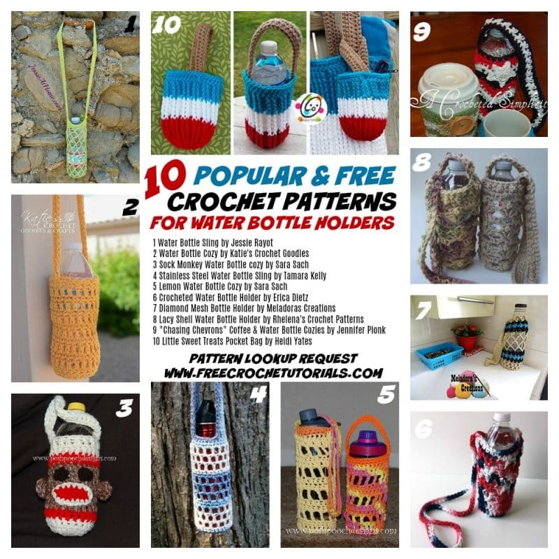10 Popular Free Crochet Patterns For Water Bottle Holders Pattern