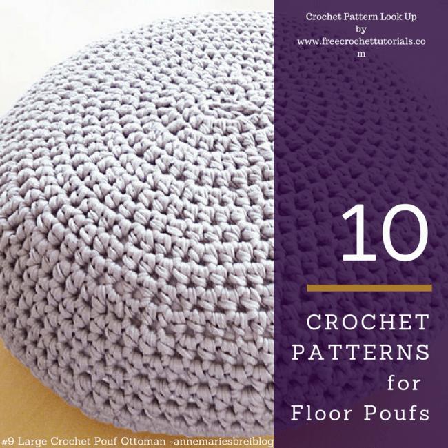 10 crochet patterns for t shirt yarn floor poufs free crochet tutorials