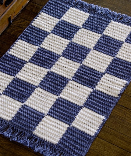 Crochet Checkerboard Rug Red Heart Yarn