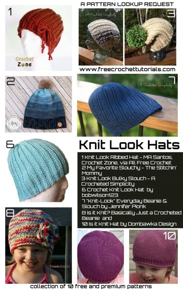 10 Popular Knit Look Hat Patterns • Free Crochet Tutorials 49c6cec10dd