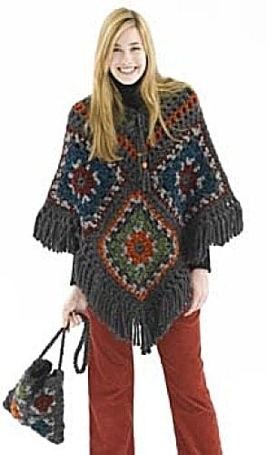 Crochet-Pattern-Posh-Poncho-and-Granny-Square-Bag-30330AD