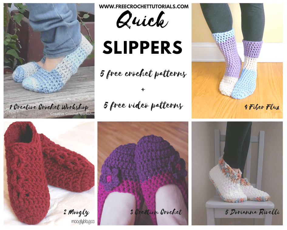 Crochet These Quick Slippers Pattern Look Up Free Crochet Tutorials
