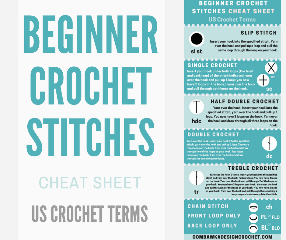 Beginner Crochet Stitches. Cheat Sheet for US Crochet Terms. Video Tutorial for each stitch.