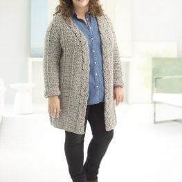 Curvy Girl Crochet Cabled Cardigan from Lion Brand Yarns