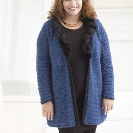 Curvy Girl Ruffled Collar Cardigan by Teresa Chorzepa at Lion Brand Yarn