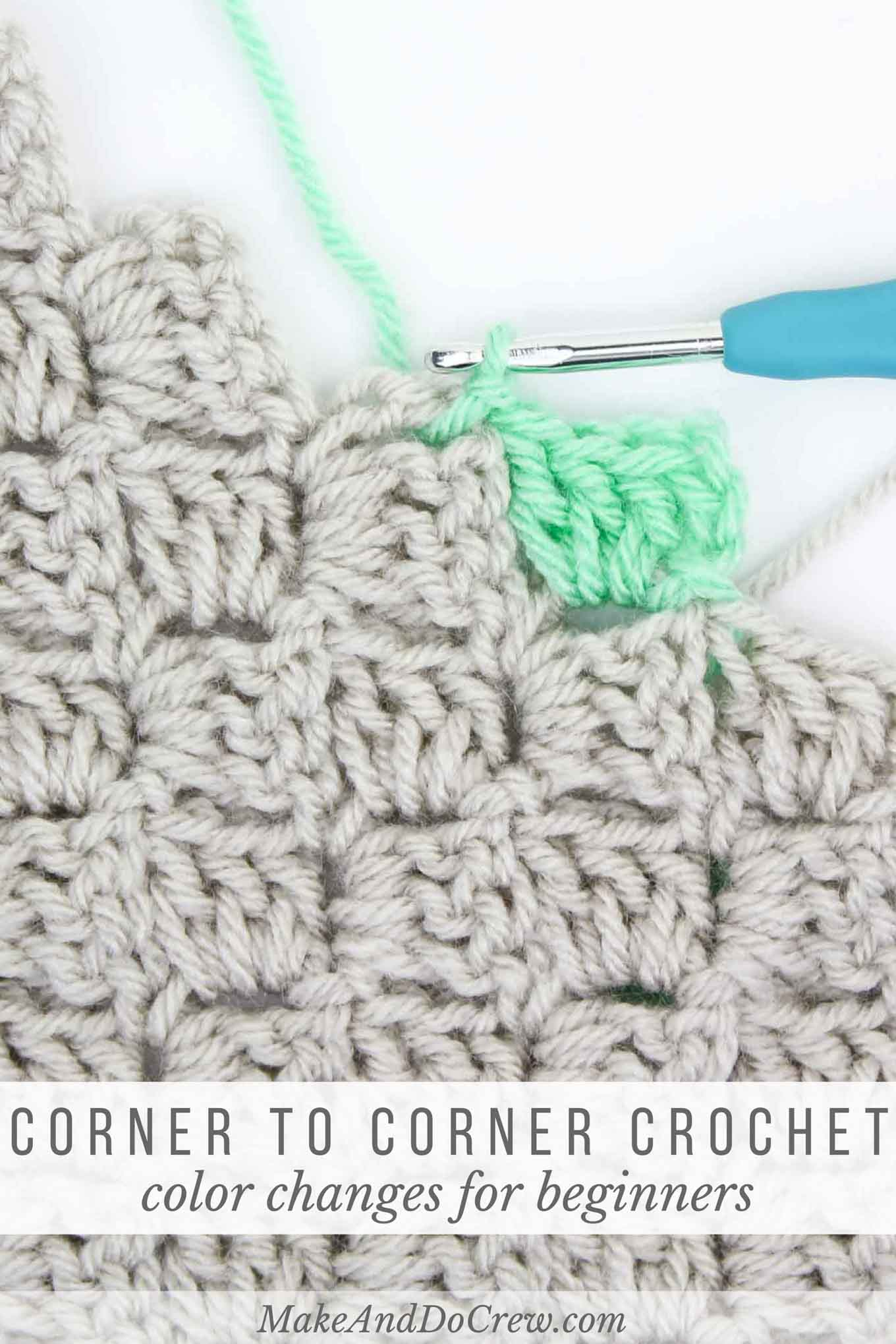 Learn to Change Colors in Corner to Corner Crochet