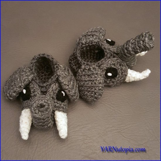 How to Crochet the Elephant Baby Booties