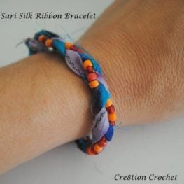 Recycled Sari Silk Ribbon Bracelet Instructions