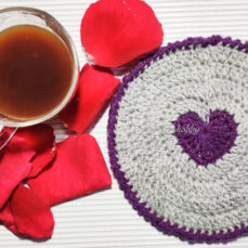Heart Filled Crochet Coaster Tutorial