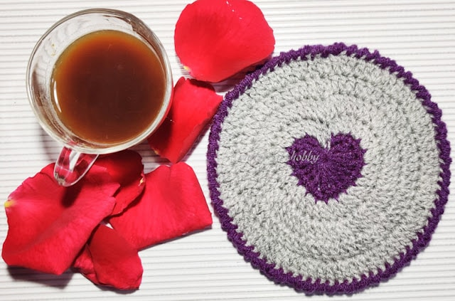 Heart Filled Crochet Coaster Tutorial