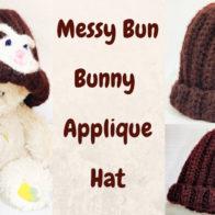 Messy Bun Bunny Applique Crochet Ribbed Hat