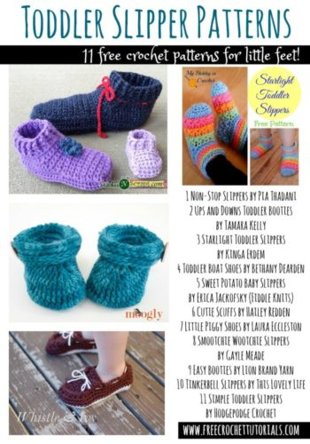 Toddler Slipper Patterns 11 Free Crochet Patterns located by freecrochettutorials.com These patterns use worsted weight/medium weight yarn.