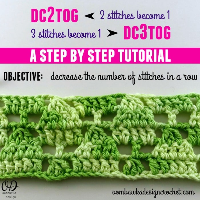 The double crochet 2 together photo tutorial will teach you how to decrease (dec) 2 double crochet stitches to 1 double crochet (dc) stitch.