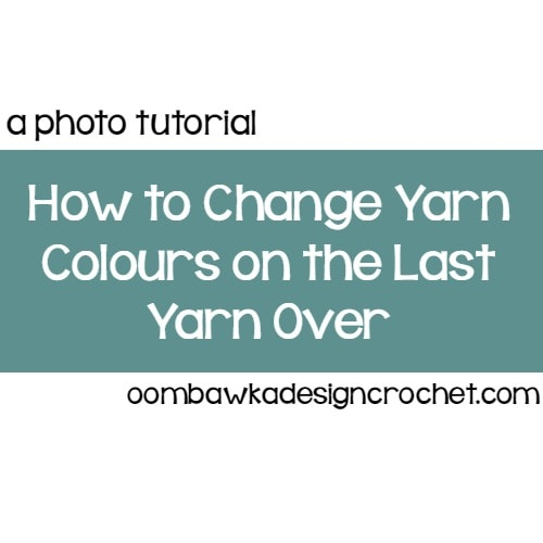 Learn how to change colors on the last yarn over of a stitch with this photo tutorial.