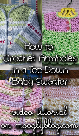 How to Crochet Armholes in a Top-Down Sweater Pattern Tutorial