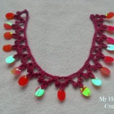 Sequinned Trim Crochet Necklace Tutorial