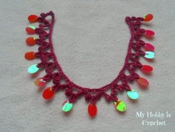 Sequinned Trim Crochet Necklace Tutorial Free Crochet Tutorials