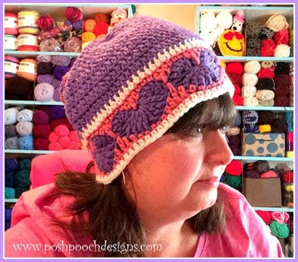 Happy Hearts Beanie And Slouchy Hat Crochet Pattern Free Crochet