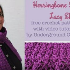 Herringbone Scarf with Lace Shells Tutorial