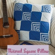Mitered Square Pillow Tunisian Crochet Stitches Tutorial
