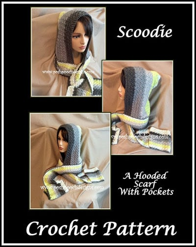 Scoodie Hooded Scarf With Pockets Free Crochet Pattern Free