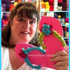 Flower Embellished Flip Flops