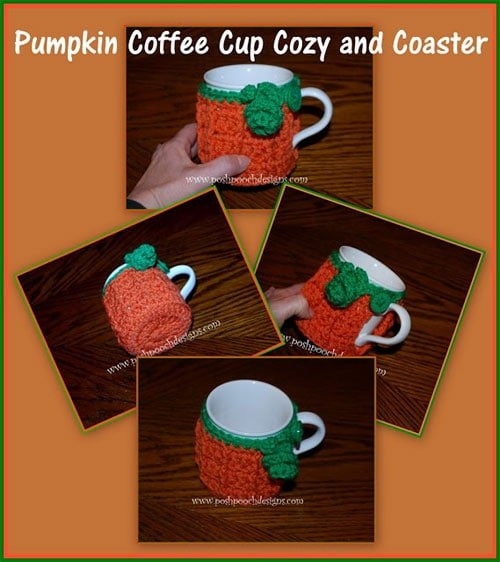 Pumpkin Coffee Cup Cozy and Coaster Crochet Pattern - Free ...