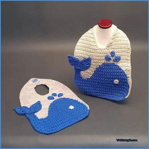 Crochet Tutorial The Blue Whale Baby Bib Free Crochet Tutorials