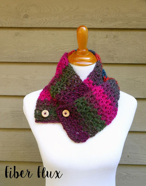Autumn Gems Button Scarf Pattern