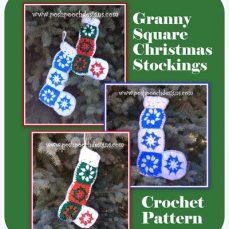 Granny Square Christmas Stockings Crochet Pattern
