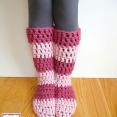 Strawberry Blossom Slipper Socks Pattern